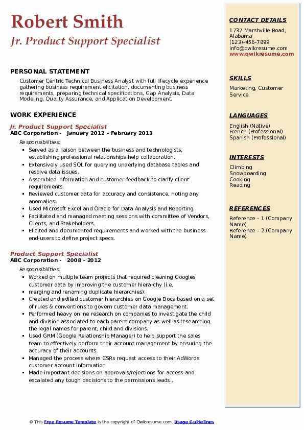 Jr. Product Support Specialist Resume Model