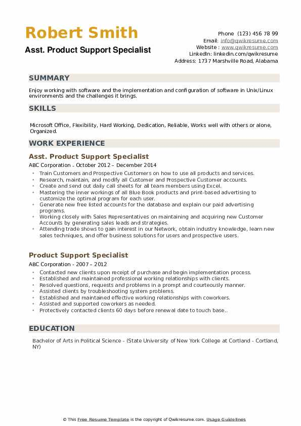 Asst. Product Support Specialist Resume Example