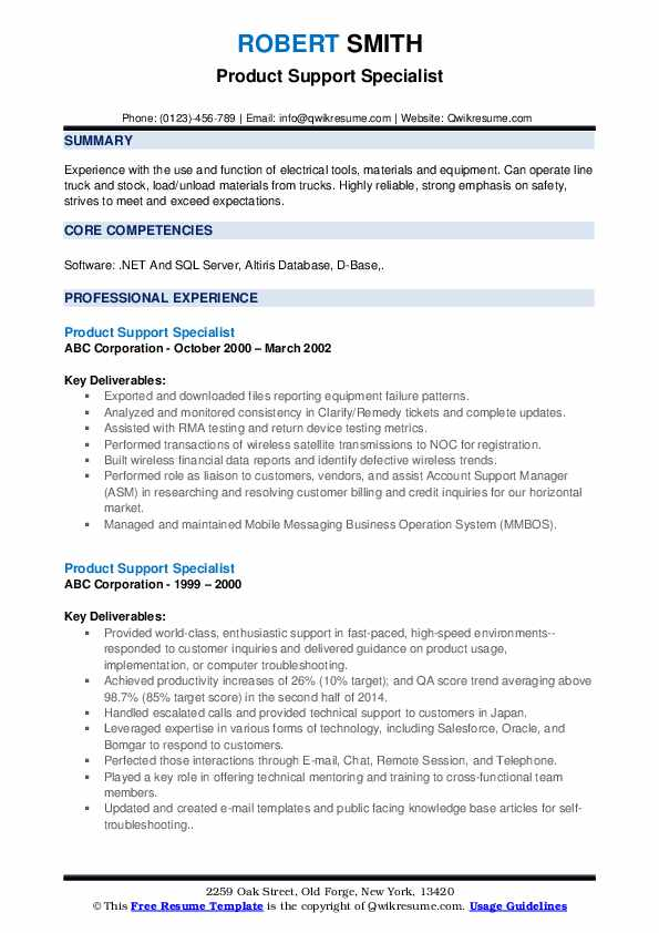 Product Support Specialist Resume example