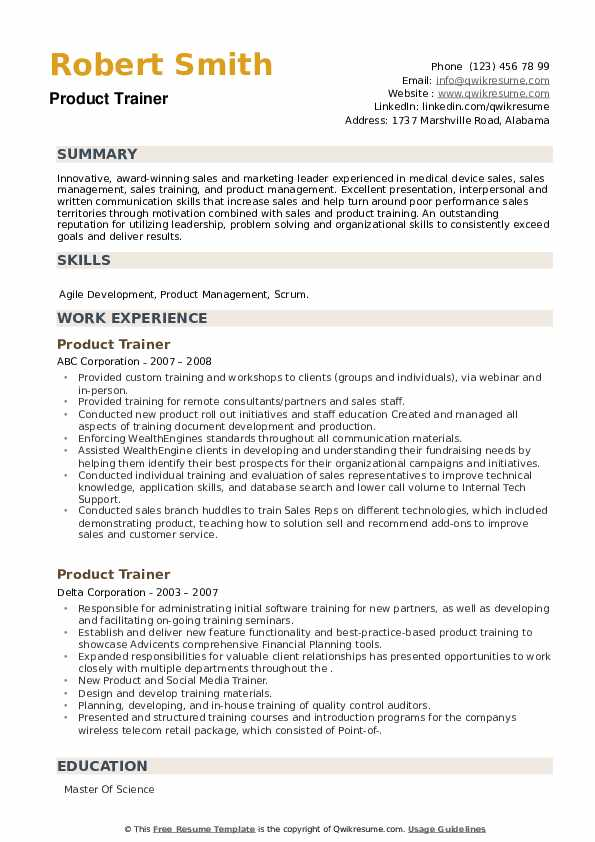 Product Trainer Resume example