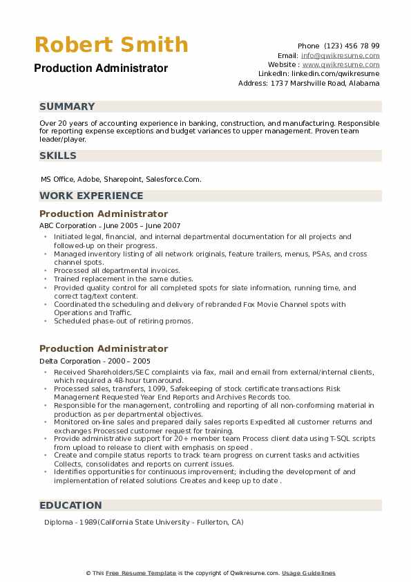 Production Administrator Resume example