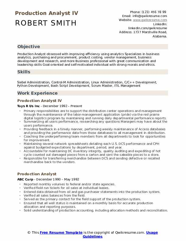 production analyst resume samples