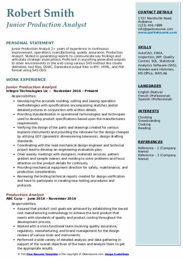 Junior Production Analyst Resume Template