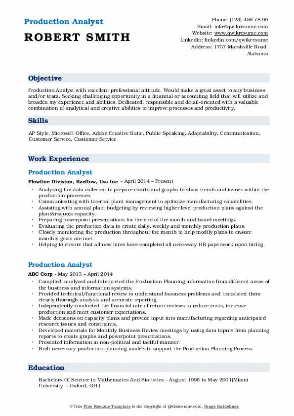 Production Analyst Resume Template