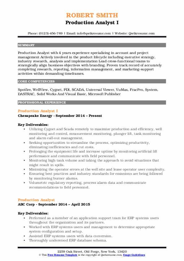 Production Analyst I Resume Template