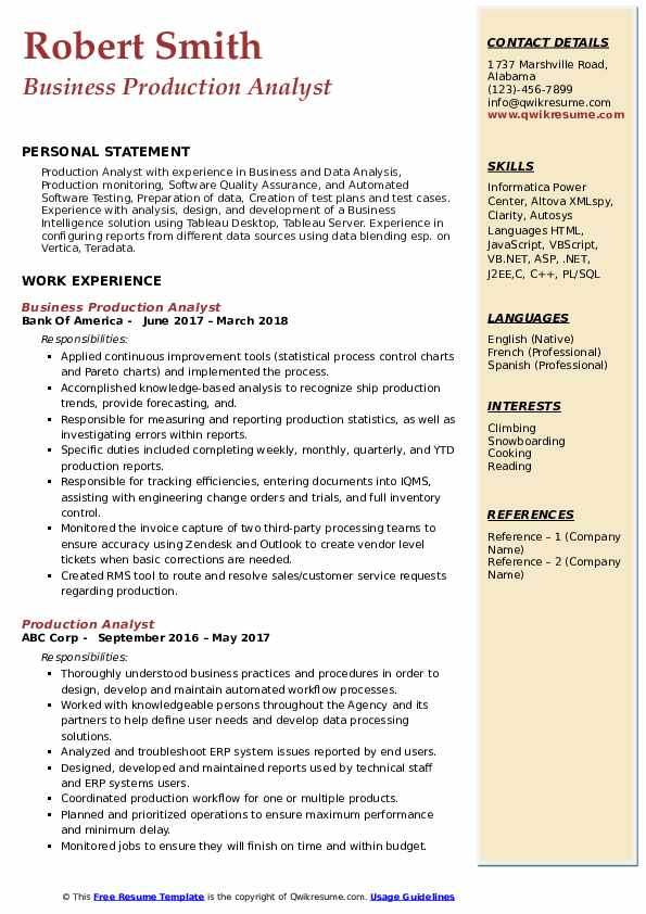 Business Production Analyst Resume Format