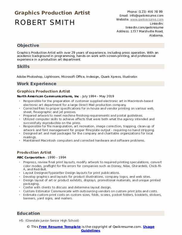 Graphics Production Artist Resume Example
