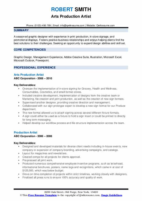 Arts Production Artist Resume Format
