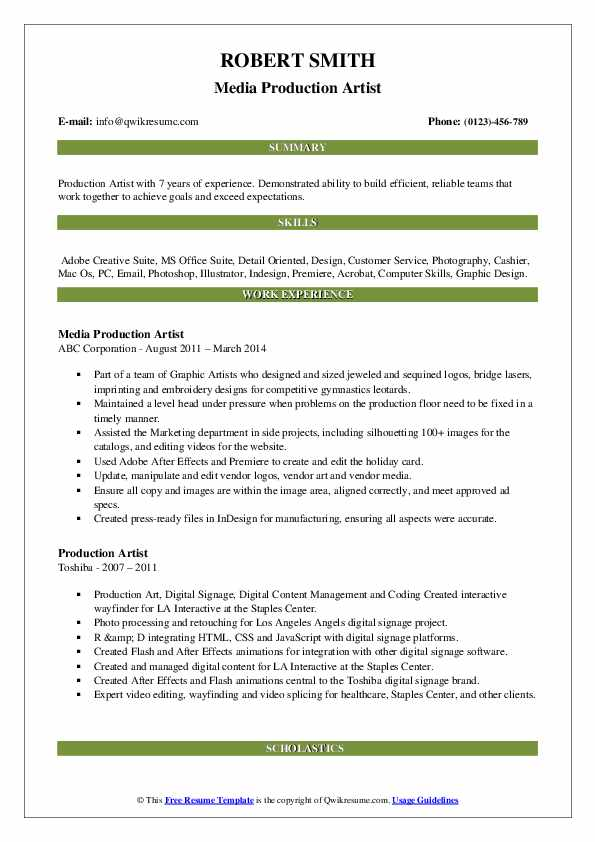 Media Production Artist Resume Template