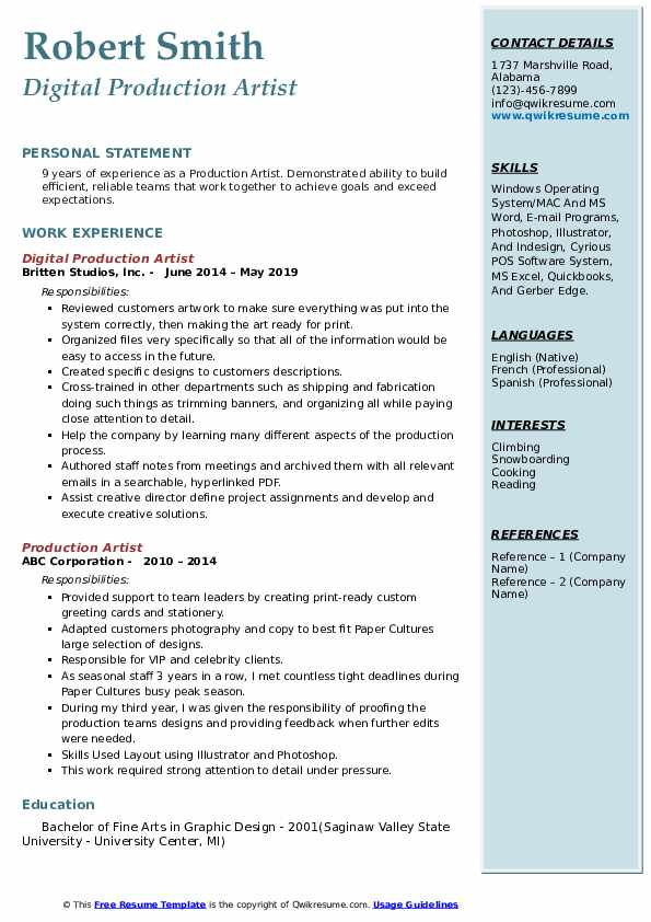 Digital Production Artist Resume Example