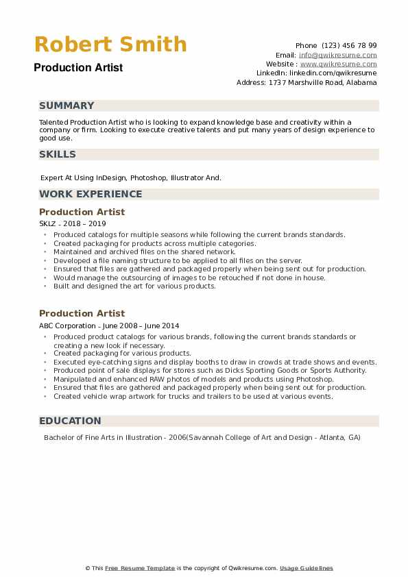 Production Artist Resume example