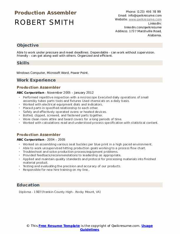 Production Assembler Resume Model