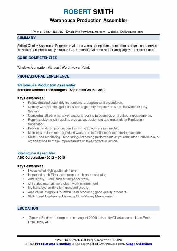 Warehouse Production Assembler Resume Format