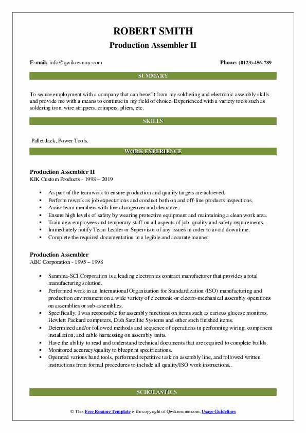 Production Assembler II Resume Example