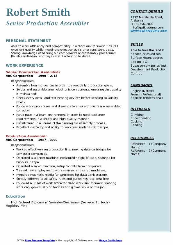 Senior Production Assembler Resume Sample