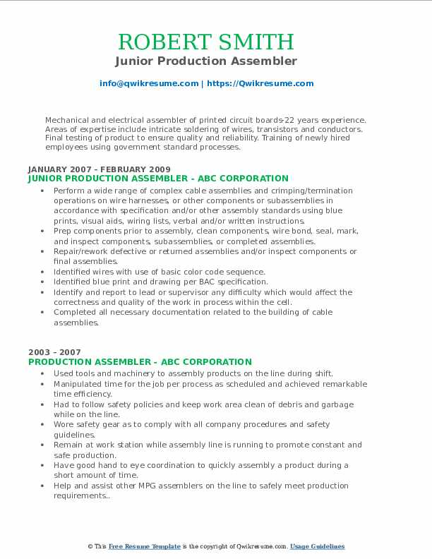 Junior Production Assembler Resume Format