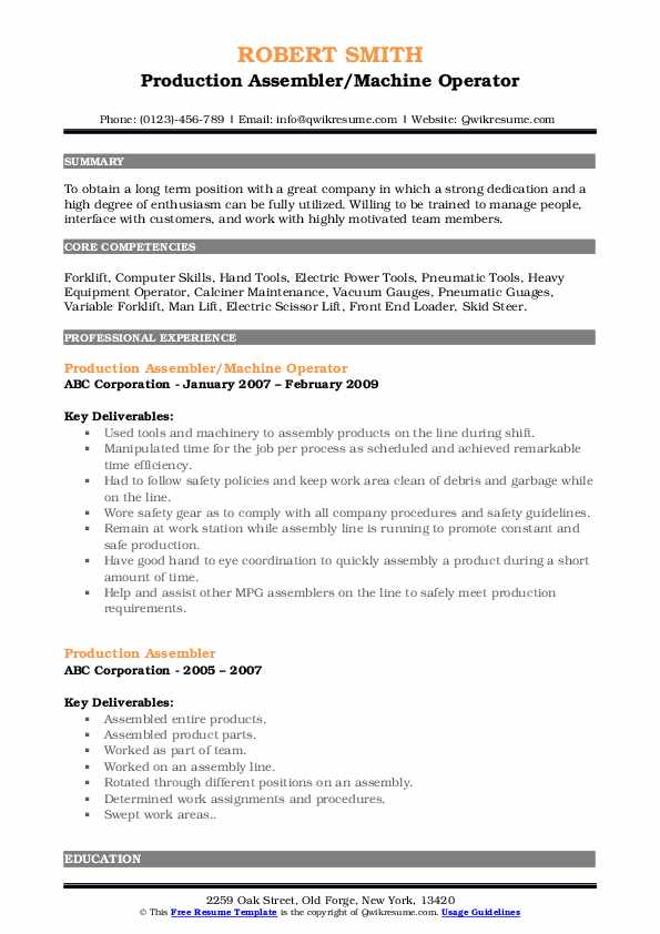 Production Assembler/Machine Operator Resume Sample
