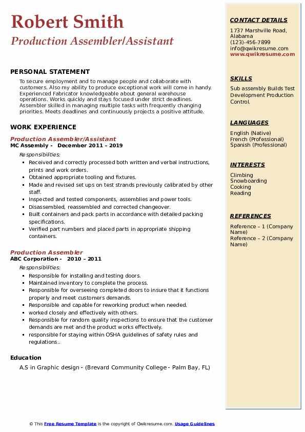 Production Assembler/Assistant Resume Template
