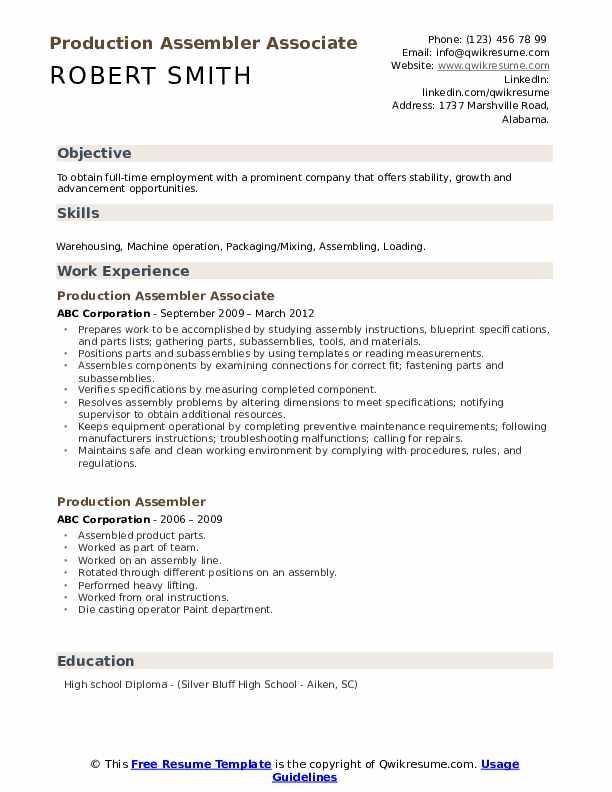 Production Assembler Associate Resume Sample