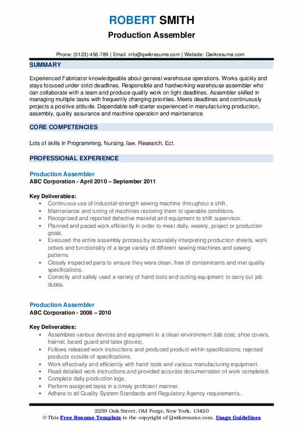 Production Assembler Resume example