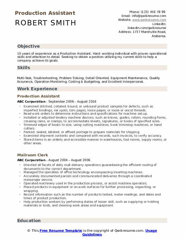 Production Assistant  Resume Model
