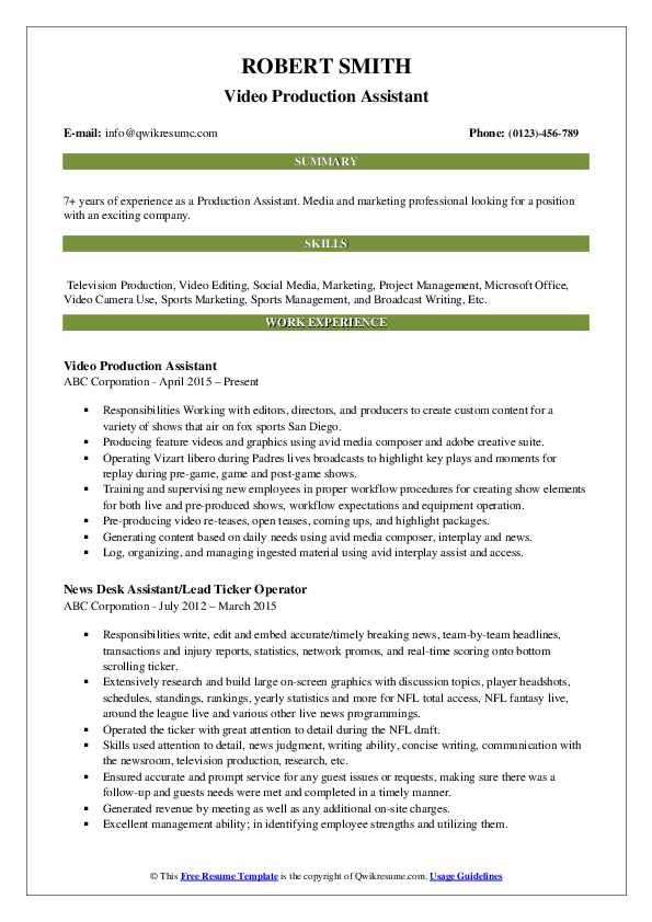 Production Assistant Resume Samples Qwikresume