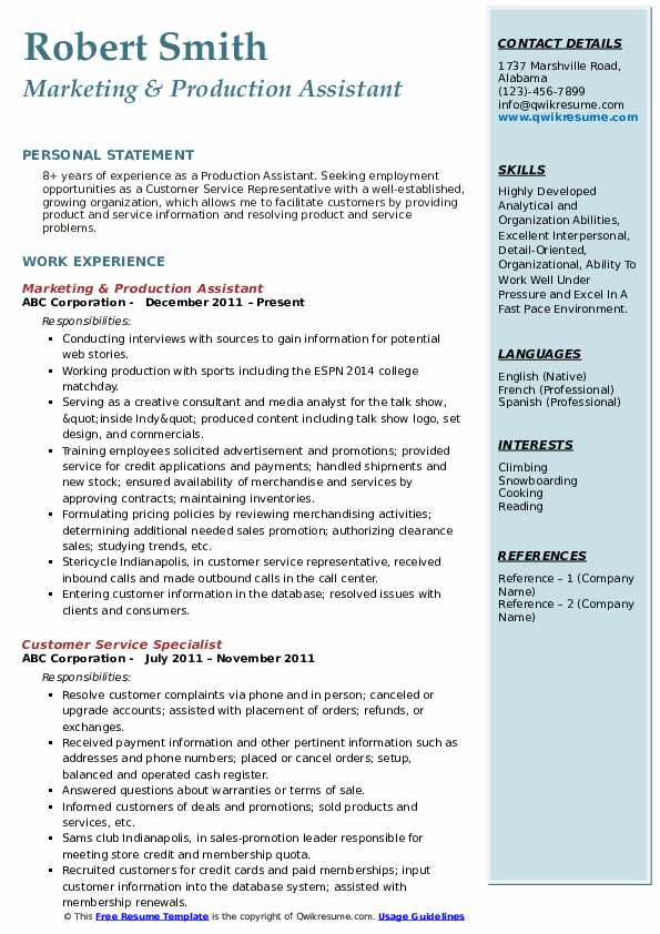 Marketing & Production Assistant Resume Example