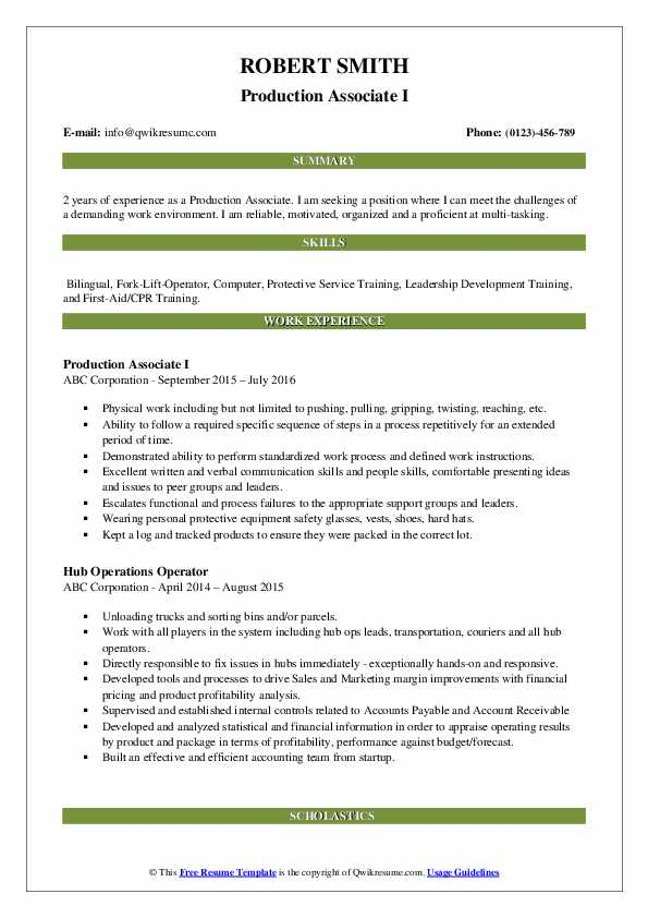 Production Associate I Resume Example