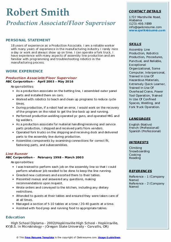 Production Associate/Floor Supervisor Resume Model