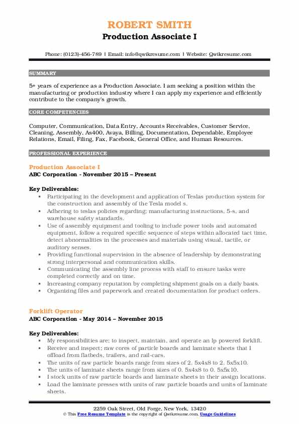 Production Associate I Resume Format