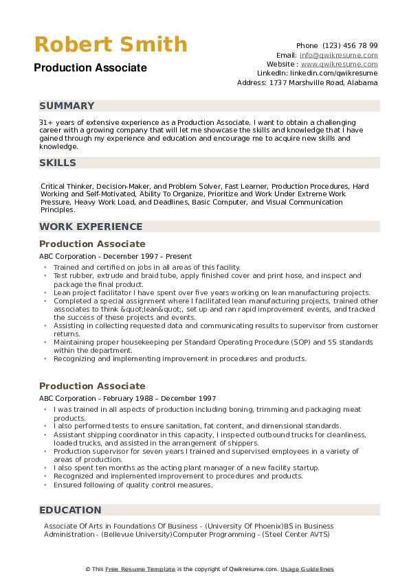 Production Associate Resume Sample