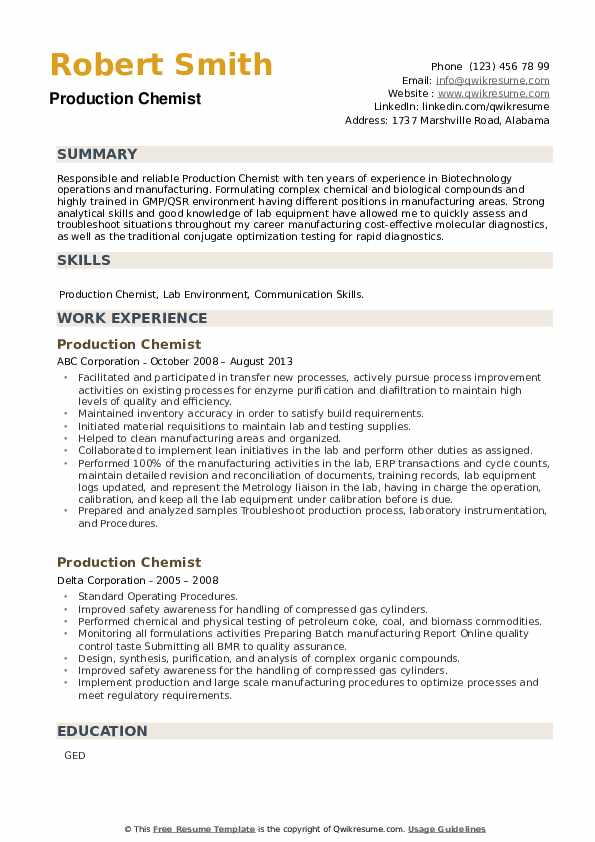 Production Chemist Resume example