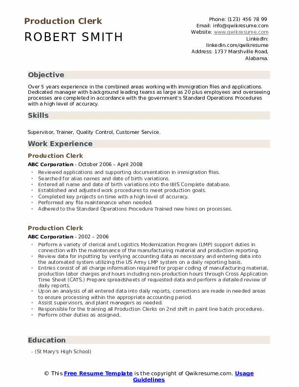 Production Clerk Resume Example