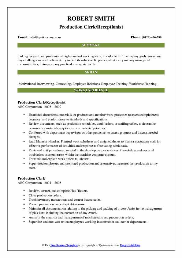 Production Clerk/Receptionist Resume Sample