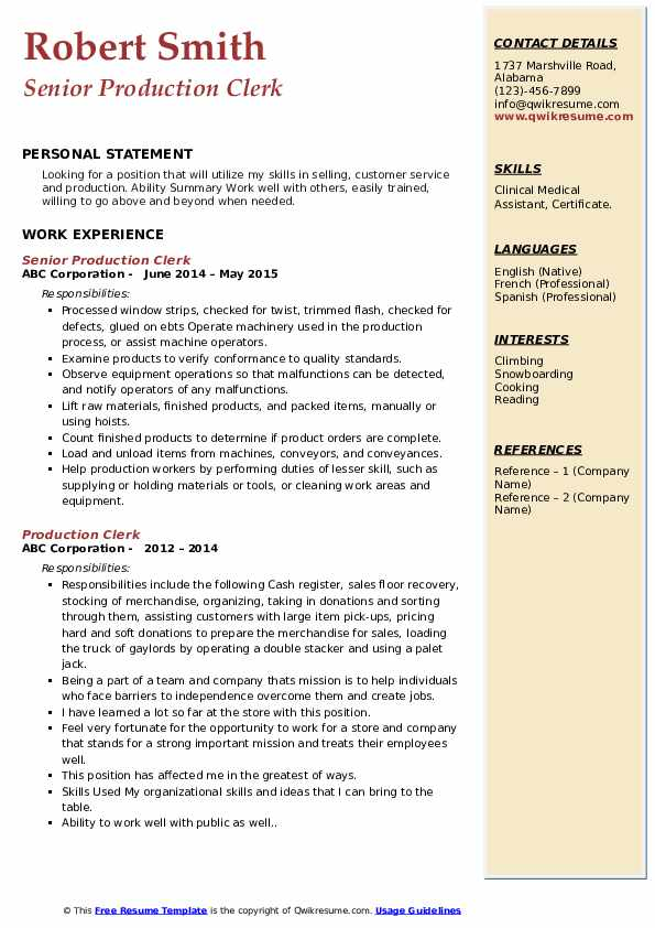 Senior Production Clerk Resume Format