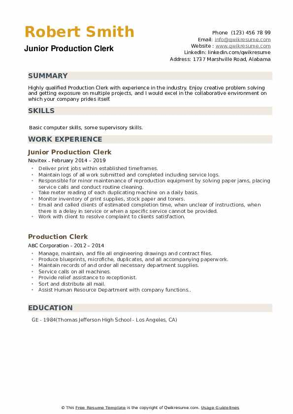 Junior Production Clerk Resume Model