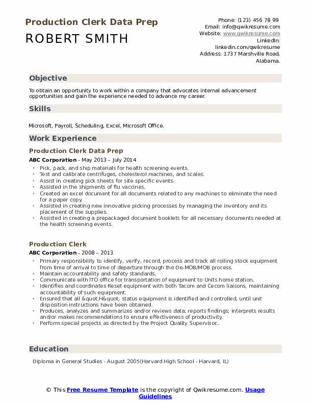 Production Clerk Data Prep Resume Format