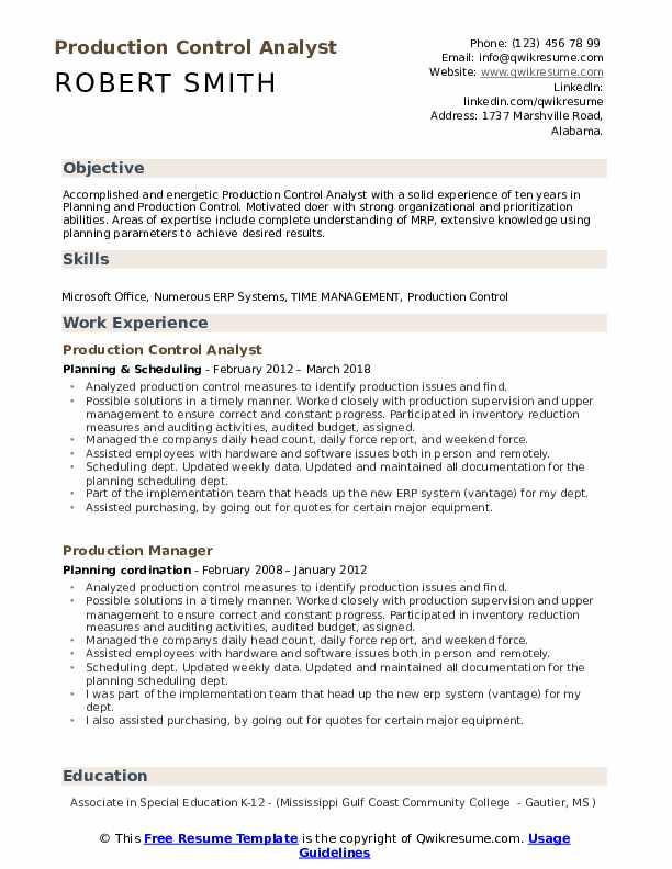 Production Control Analyst Resume Format