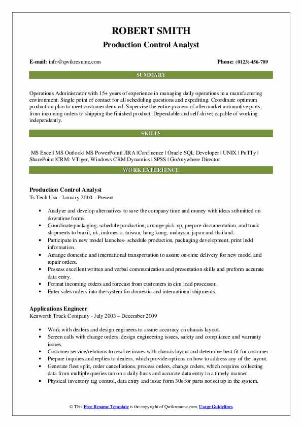 Production Control Analyst Resume Sample
