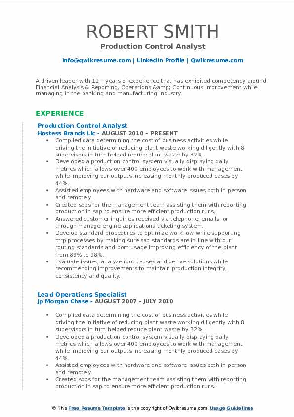 Production Control Analyst Resume Template