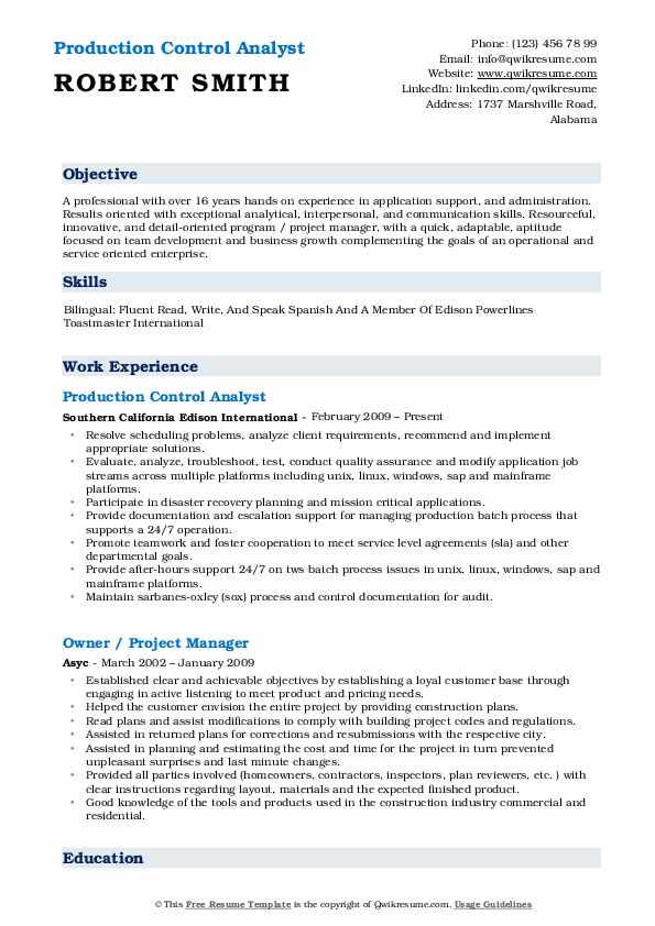 Production Control Analyst Resume Example