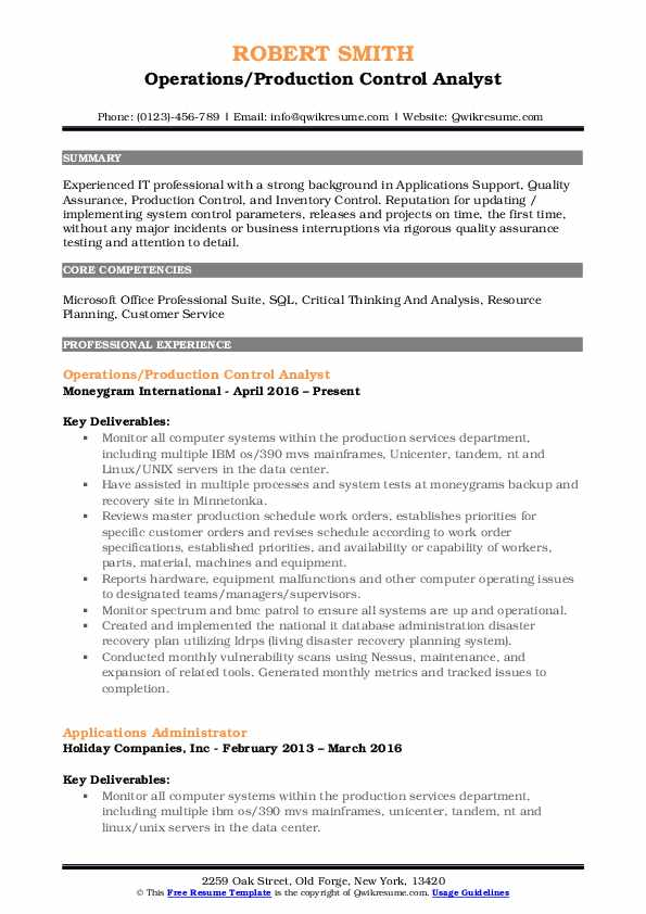 Operations/Production Control Analyst Resume Model