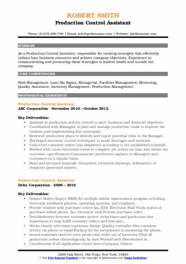 production control assistant resume samples  qwikresume
