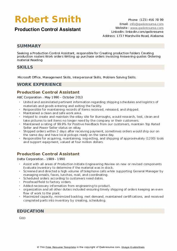 Production Control Assistant Resume example