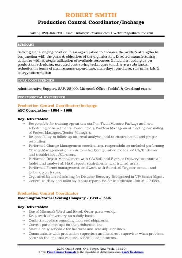 production control coordinator resume samples  qwikresume