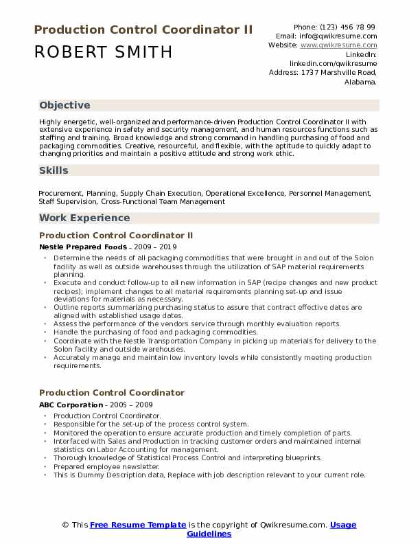 Production Control Coordinator Resume example