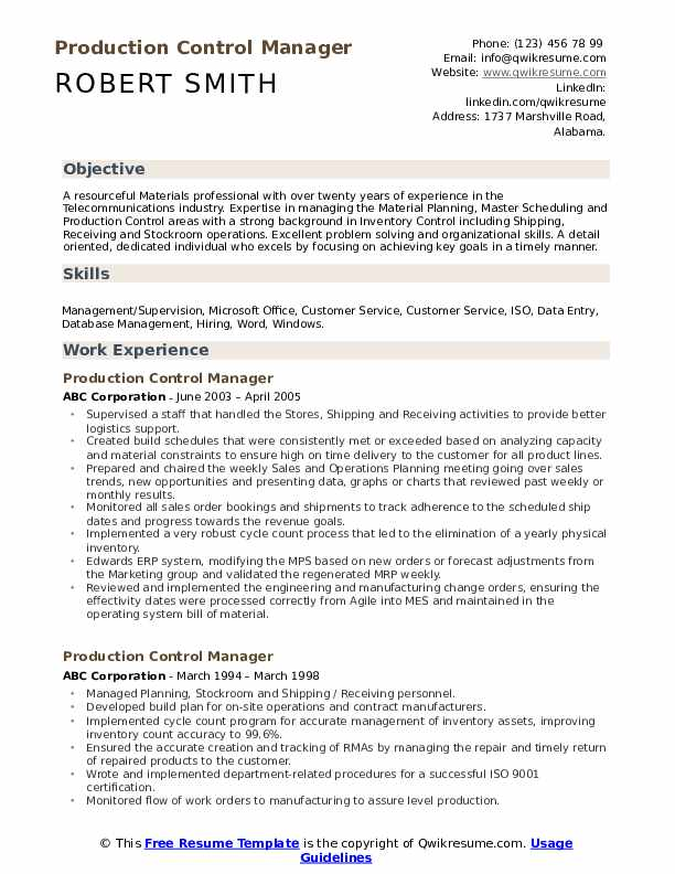 Production Control Manager Resume Format