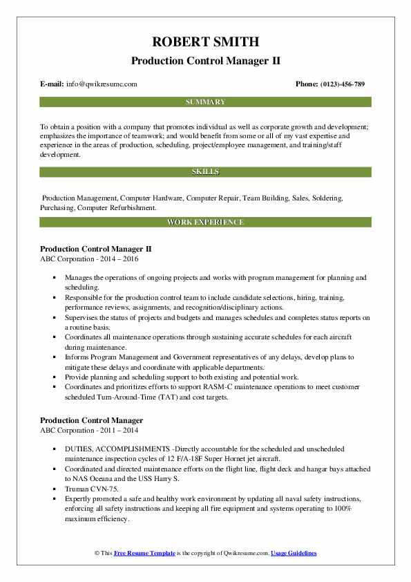 Production Control Manager II Resume Format
