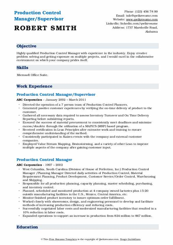 Production Control Manager/Supervisor Resume Template