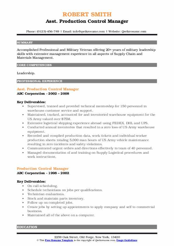 Asst. Production Control Manager Resume Format